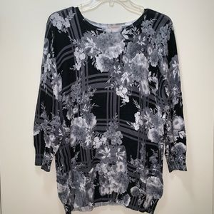 Christopher & Banks Floral Sweater 3/4 Sleeves